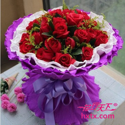 19只红玫瑰,浅紫色圆形包装-鲜花网 杭州鲜花速递网—